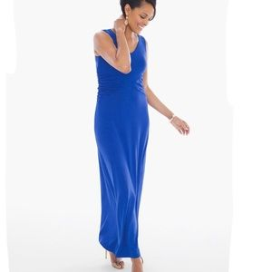 Chico's Sophia Side Ruched Dress Maxi Royal Blue